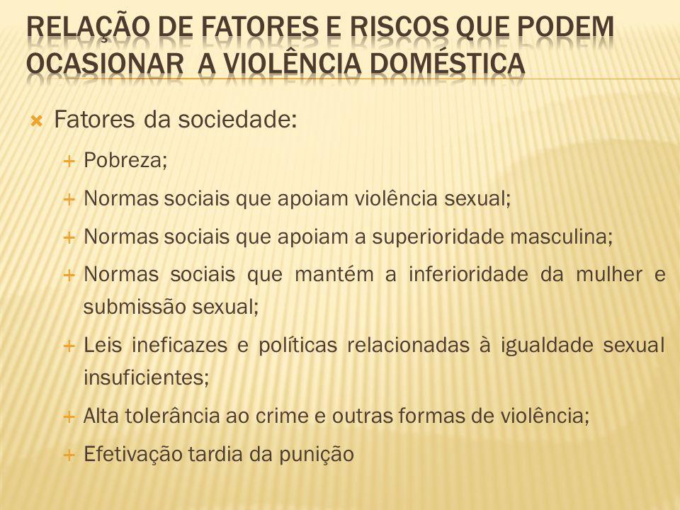 Fatores da sociedade: Pobreza; Normas sociais que apoiam violência sexual; Normas sociais que apoiam a superioridade masculina; Normas sociais que man