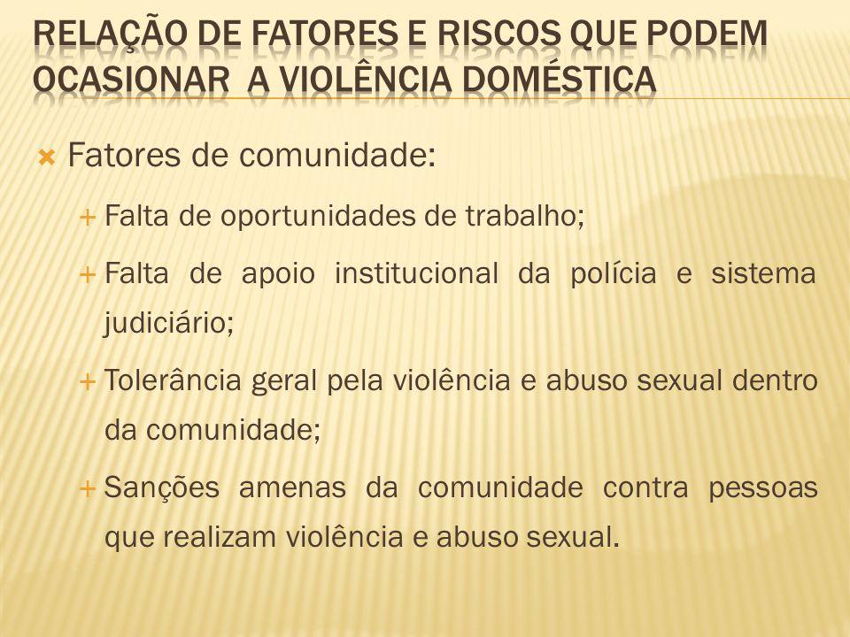 Fatores de comunidade: Falta de oportunidades de trabalho; Falta de apoio institucional da polícia e sistema judiciário; Tolerância geral pela violênc
