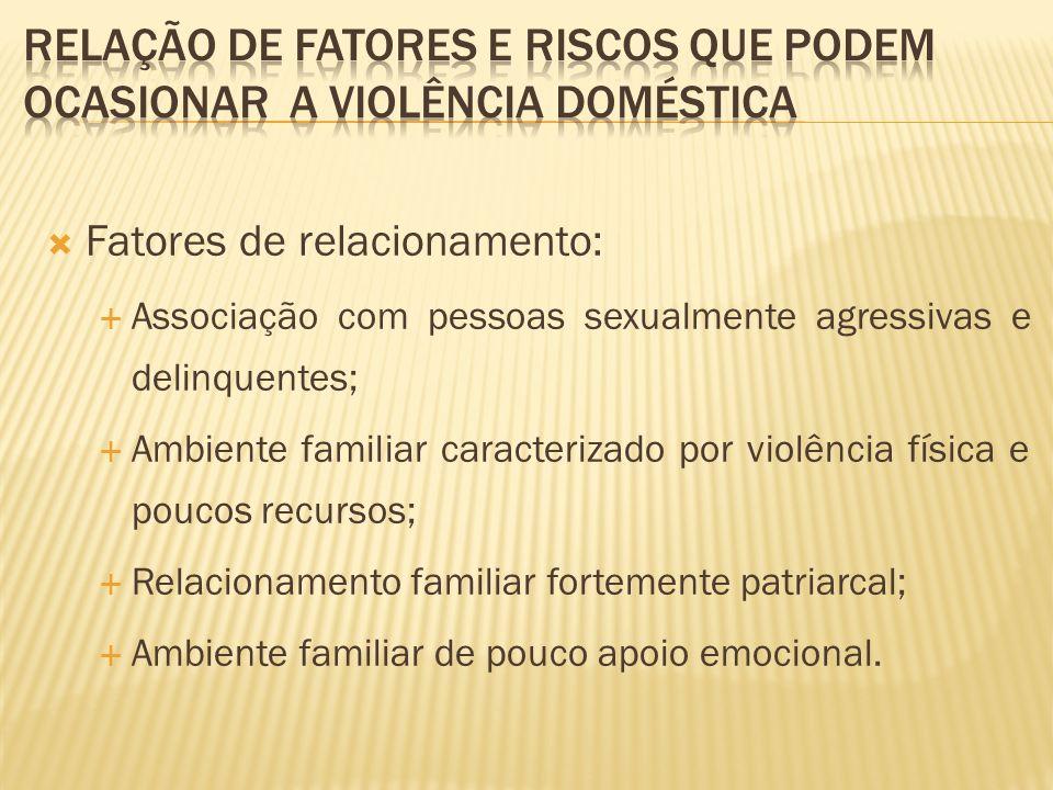 Fatores de relacionamento: Associação com pessoas sexualmente agressivas e delinquentes; Ambiente familiar caracterizado por violência física e poucos