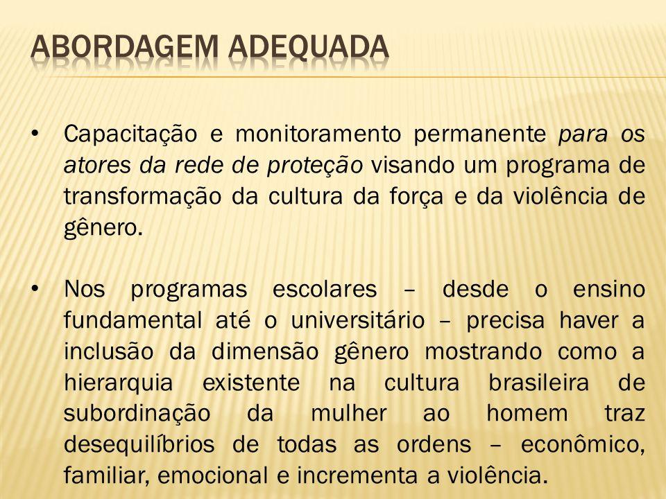Capacitação e monitoramento permanente para os atores da rede de proteção visando um programa de transformação da cultura da força e da violência de gênero.