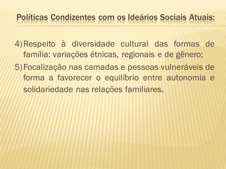 4)Respeito à diversidade cultural das formas de família: variações étnicas, regionais e de gênero; 5)Focalização nas camadas e pessoas vulneráveis de