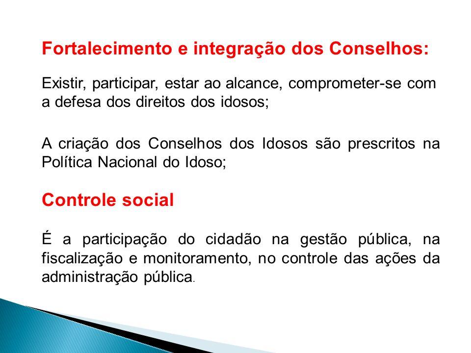 Fortalecimento e integração dos Conselhos: Existir, participar, estar ao alcance, comprometer-se com a defesa dos direitos dos idosos; A criação dos C
