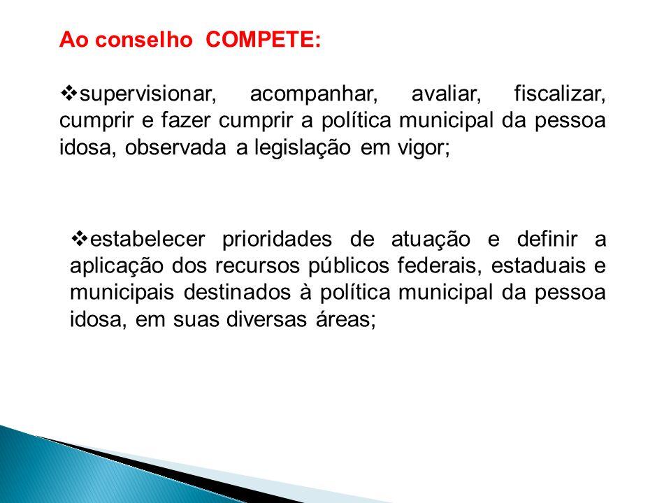 Ao conselho COMPETE: supervisionar, acompanhar, avaliar, fiscalizar, cumprir e fazer cumprir a política municipal da pessoa idosa, observada a legisla