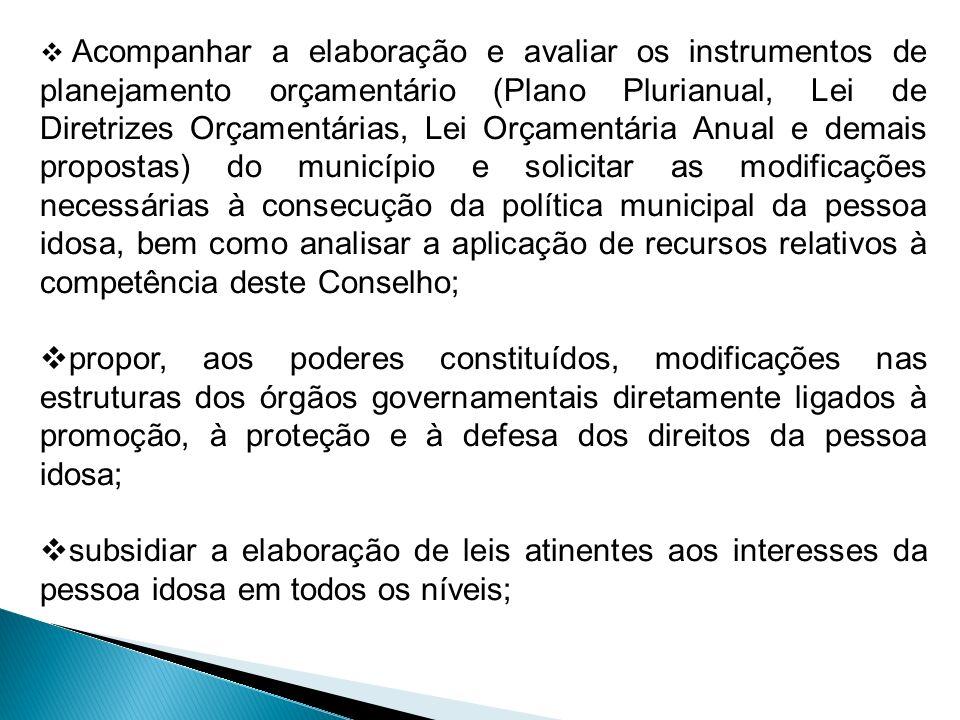 Acompanhar a elaboração e avaliar os instrumentos de planejamento orçamentário (Plano Plurianual, Lei de Diretrizes Orçamentárias, Lei Orçamentária An