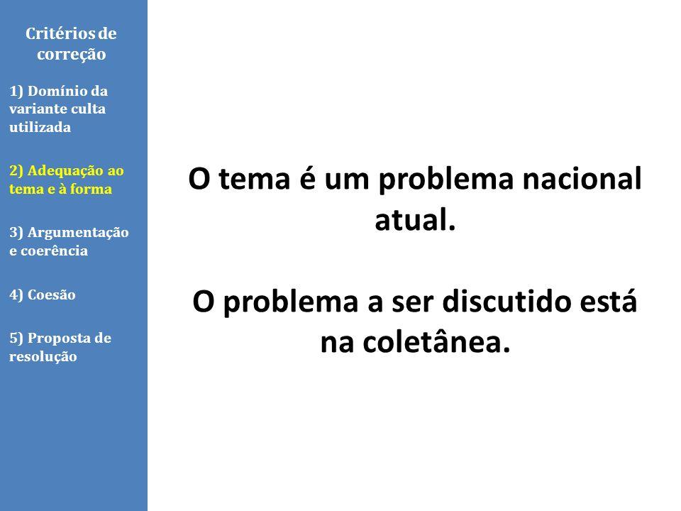 Critérios de correção 1) Domínio da variante culta utilizada 2) Adequação ao tema e à forma 3) Argumentação e coerência 4) Coesão 5) Proposta de resol