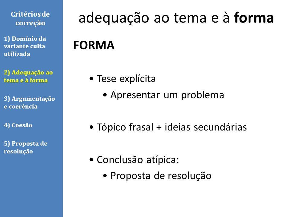 Critérios de correção FORMA Tese explícita Apresentar um problema Tópico frasal + ideias secundárias Conclusão atípica: Proposta de resolução 1) Domín