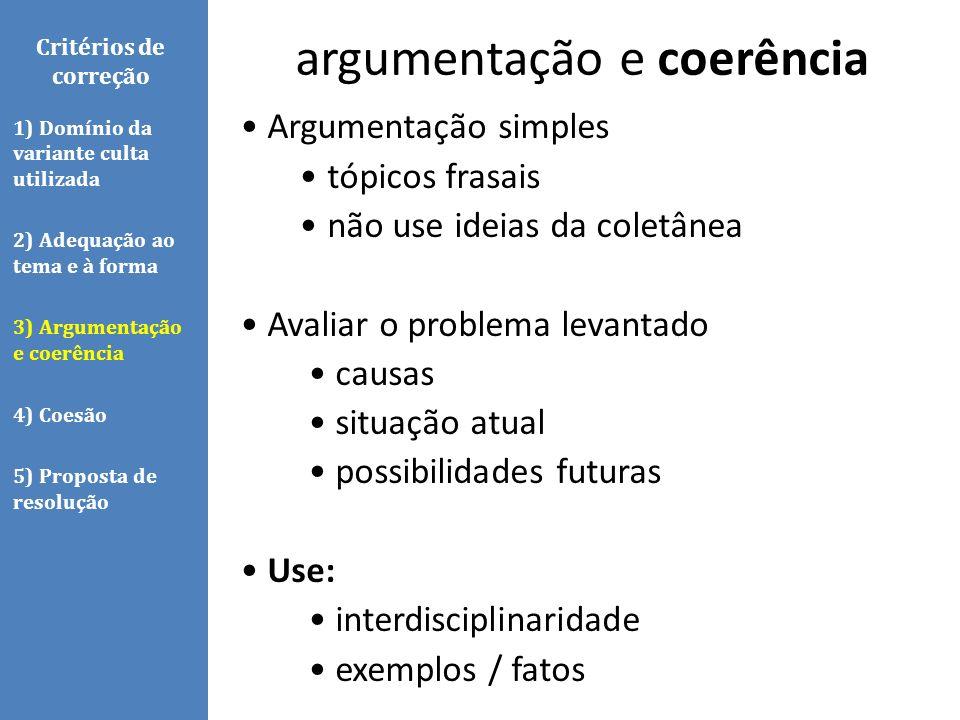 Argumentação simples tópicos frasais não use ideias da coletânea Avaliar o problema levantado causas situação atual possibilidades futuras Use: interd