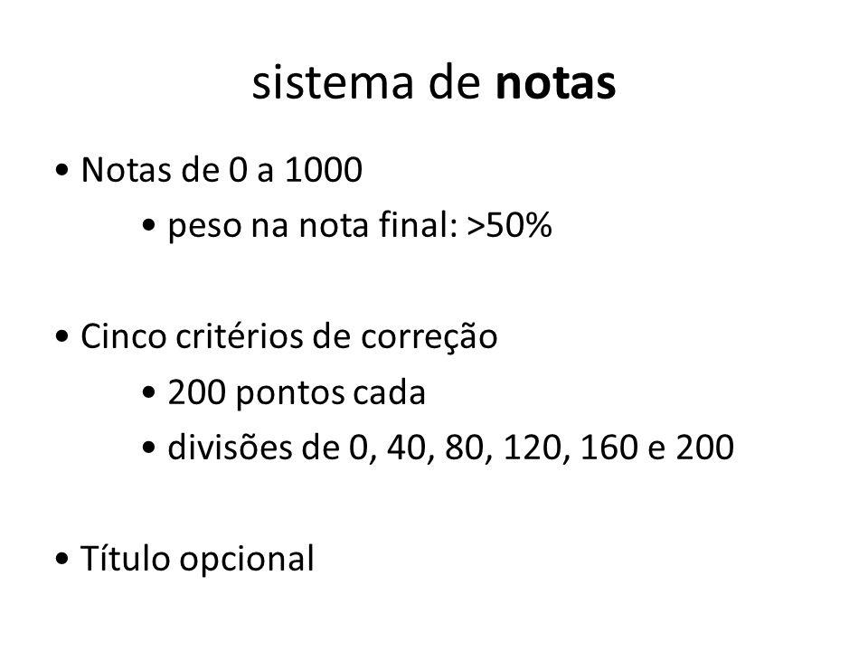 sistema de notas Notas de 0 a 1000 peso na nota final: >50% Cinco critérios de correção 200 pontos cada divisões de 0, 40, 80, 120, 160 e 200 Título o