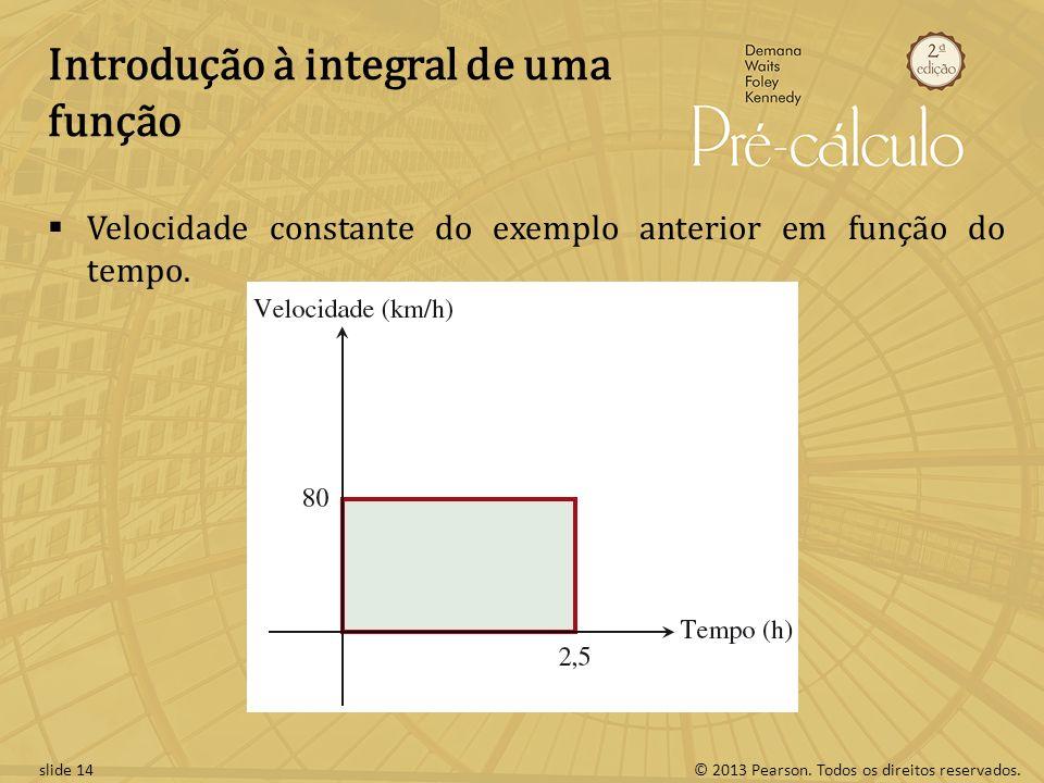 © 2013 Pearson. Todos os direitos reservados.slide 14 Introdução à integral de uma função Velocidade constante do exemplo anterior em função do tempo.