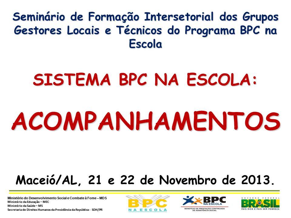 Ministério do Desenvolvimento Social e Combate à Fome – MDS Ministério da Educação – MEC Ministério da Saúde – MS Secretaria de Direitos Humanos da Presidência da República - SDH/PRDÚVIDAS Utilização do Sistema BPC na Escola Utilização do Sistema BPC na Escola - entrar em contato com a Central de Relacionamentos do MDS pelo e-mail: bpcnaescola@mds.gov.br ou pelos telefones: (61) 2030-3229 / 3225 / 3218.bpcnaescola@mds.gov.br ATENÇÃO: ATENÇÃO: o e-mail deverá conter os seguintes dados: Nome Completo:_________________________________ Função que exerce:_________ da Política de __________ Telefone: (DDD) _____-_____ Nome do Município: _____________ Unidade Federativa (U.F): __
