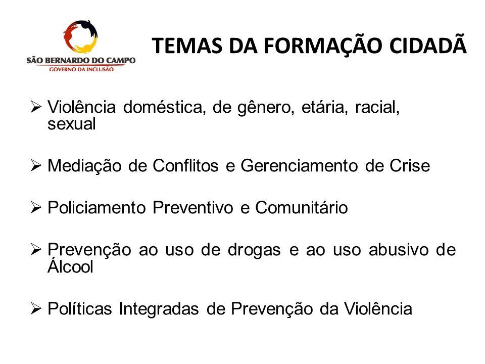 TEMAS DA FORMAÇÃO CIDADÃ Violência doméstica, de gênero, etária, racial, sexual Mediação de Conflitos e Gerenciamento de Crise Policiamento Preventivo