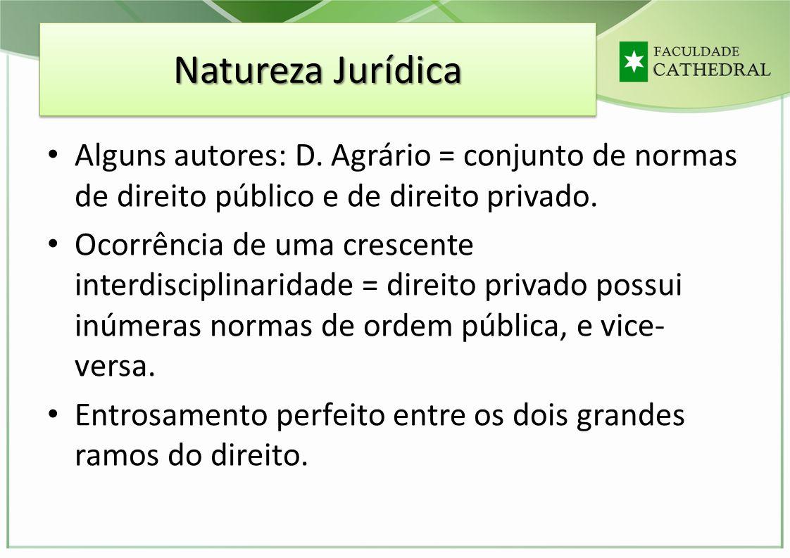 Natureza Jurídica Alguns autores: D. Agrário = conjunto de normas de direito público e de direito privado. Ocorrência de uma crescente interdisciplina