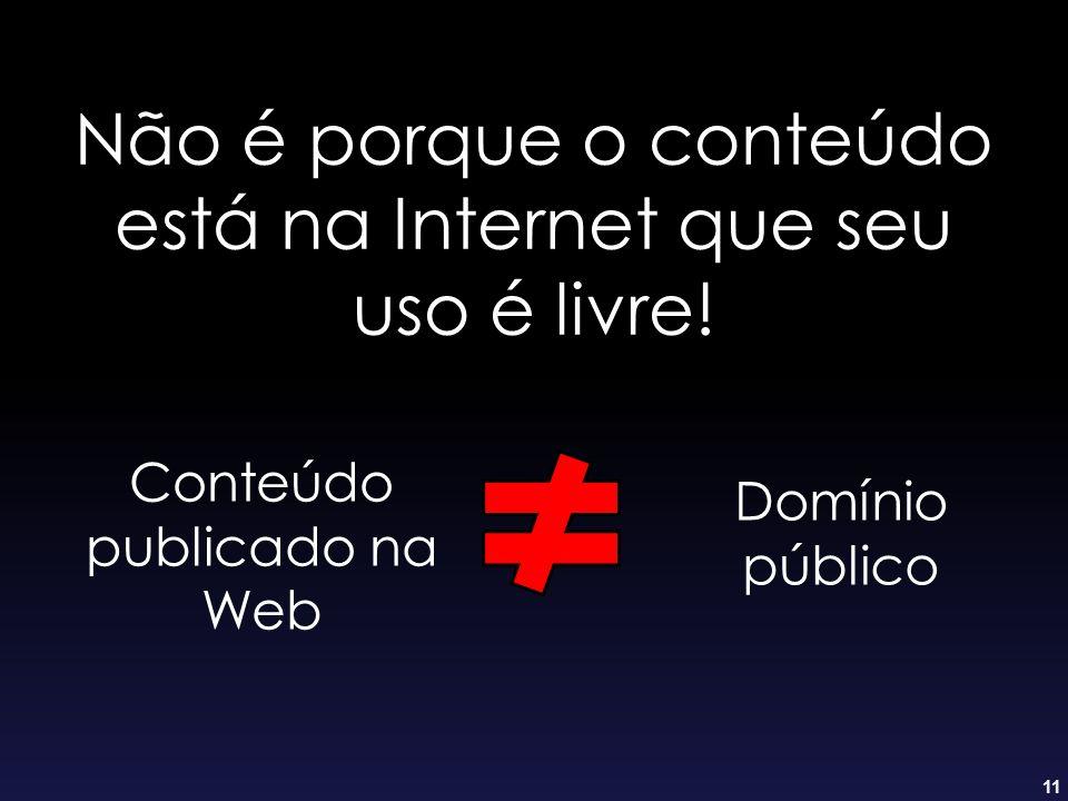 11 Não é porque o conteúdo está na Internet que seu uso é livre! Domínio público Conteúdo publicado na Web