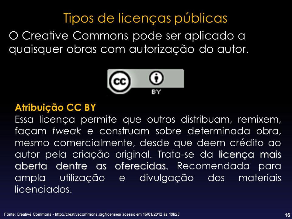 16 Tipos de licenças públicas Fonte: Creative Commons - http://creativecommons.org/licenses/ acesso em 16/01/2012 às 19h23 O Creative Commons pode ser