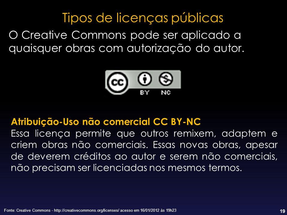 19 Tipos de licenças públicas Fonte: Creative Commons - http://creativecommons.org/licenses/ acesso em 16/01/2012 às 19h23 Atribuição-Uso não comercia