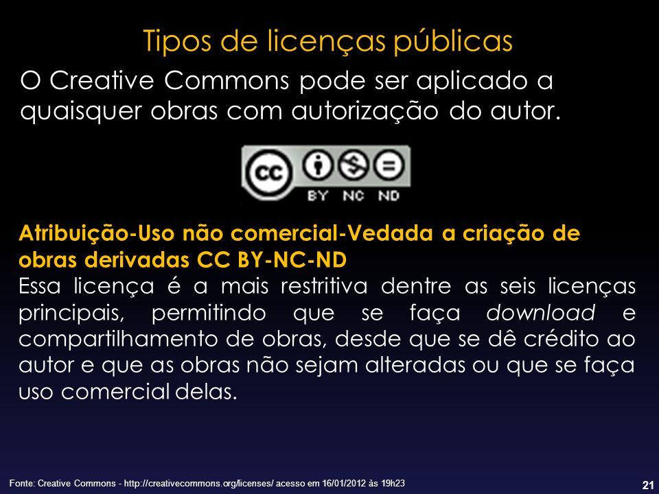21 Tipos de licenças públicas Fonte: Creative Commons - http://creativecommons.org/licenses/ acesso em 16/01/2012 às 19h23 Atribuição-Uso não comercia