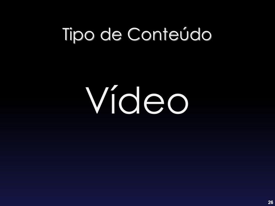 26 Tipo de Conteúdo Vídeo