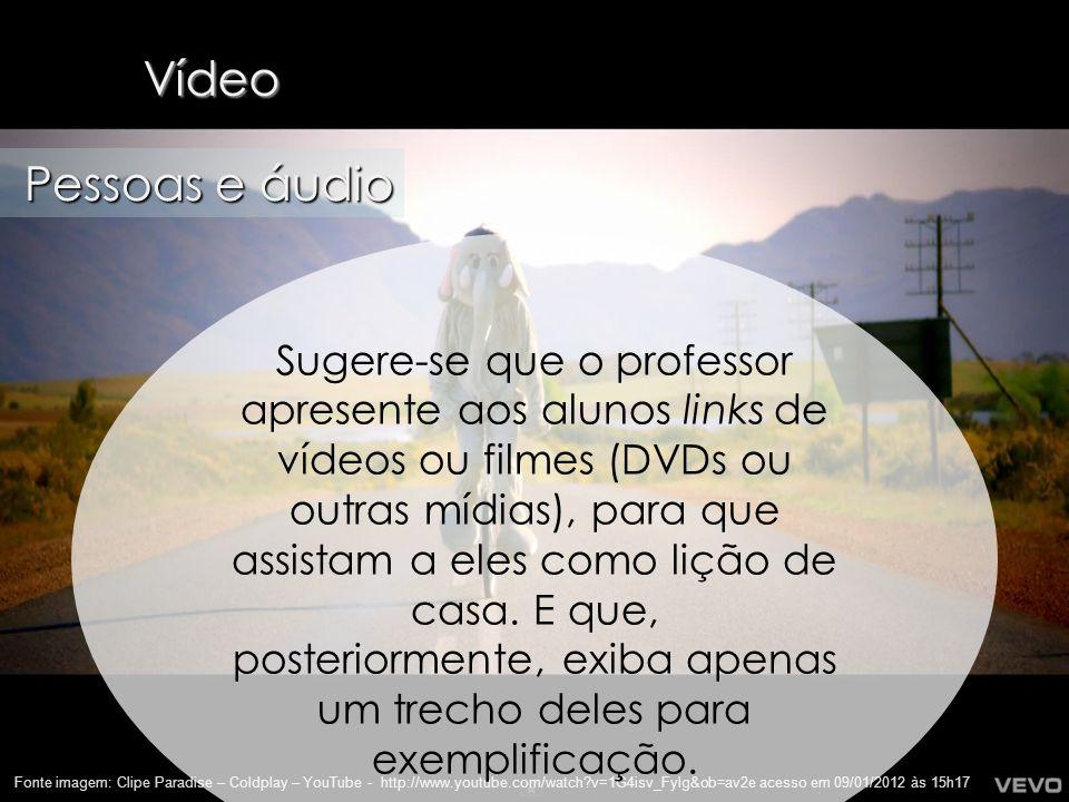 28 Vídeo Fonte imagem: Clipe Paradise – Coldplay – YouTube - http://www.youtube.com/watch?v=1G4isv_Fylg&ob=av2e acesso em 09/01/2012 às 15h17 Pessoas