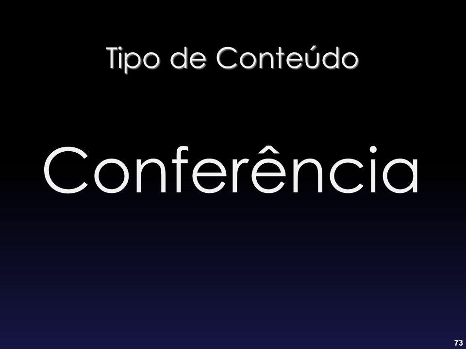73 Tipo de Conteúdo Conferência