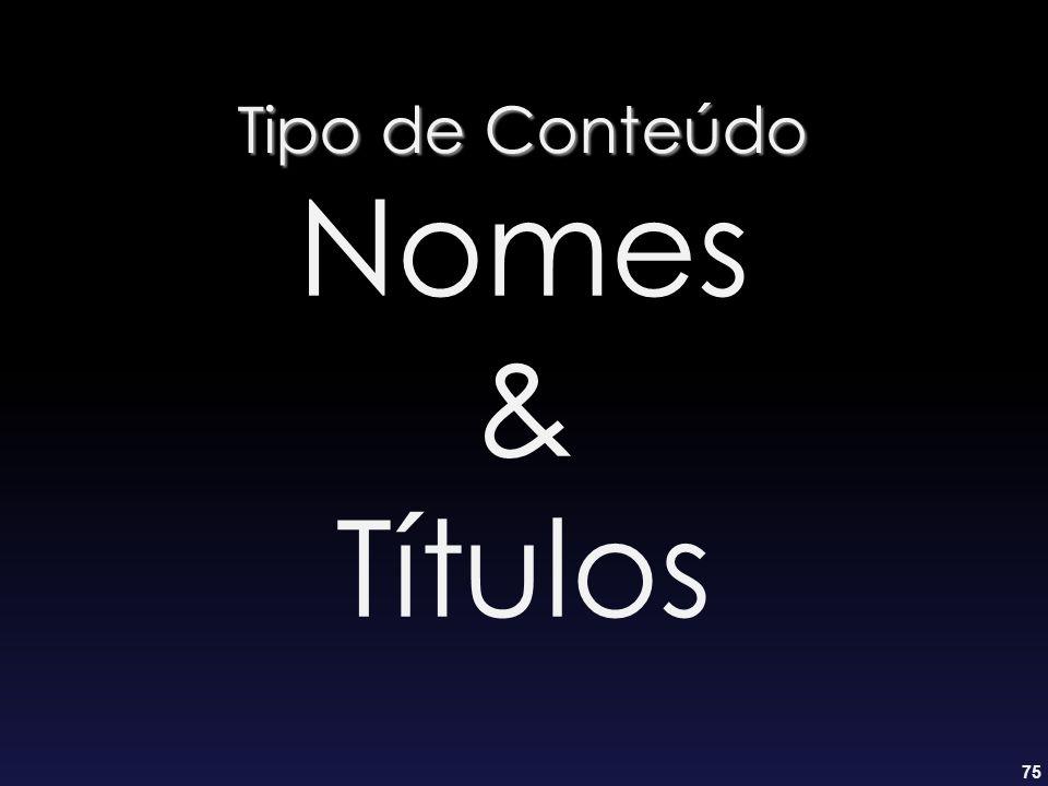 75 Tipo de Conteúdo Nomes & Títulos