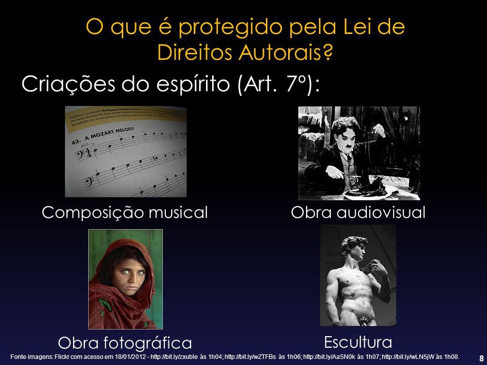 8 Criações do espírito (Art. 7º): Composição musicalObra audiovisual Obra fotográfica Escultura O que é protegido pela Lei de Direitos Autorais? Fonte