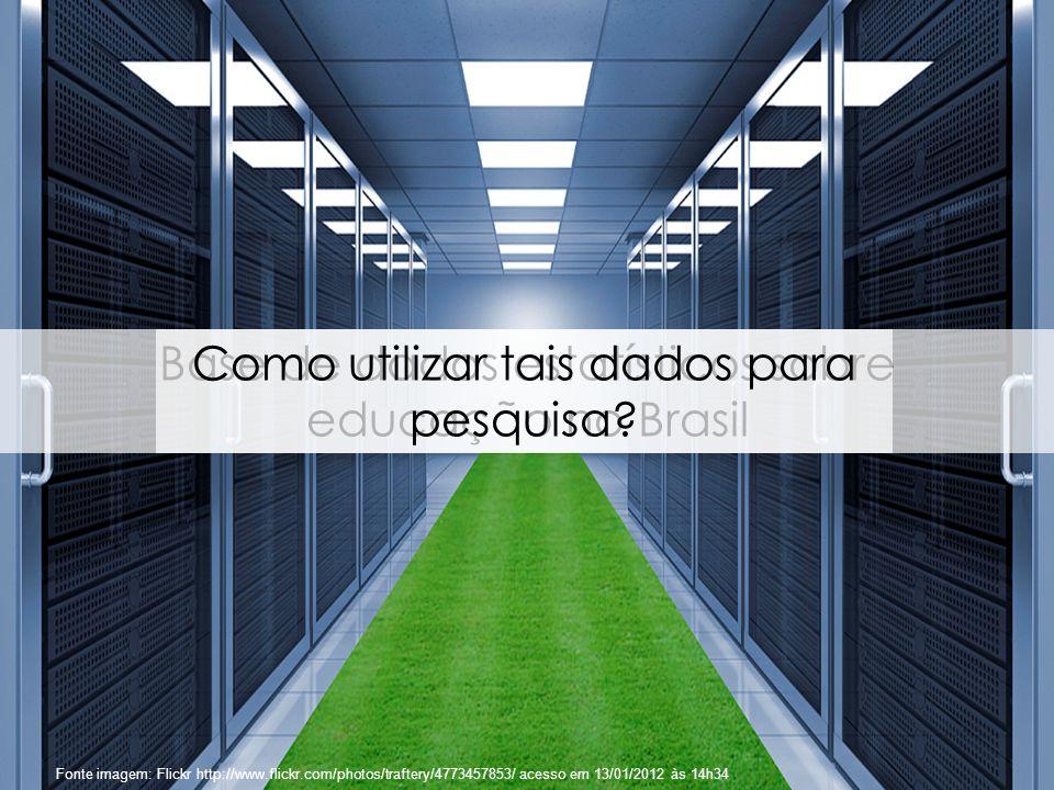 81 Fonte imagem: Flickr http://www.flickr.com/photos/traftery/4773457853/ acesso em 13/01/2012 às 14h34 Base de dados estatísticos sobre educação no B
