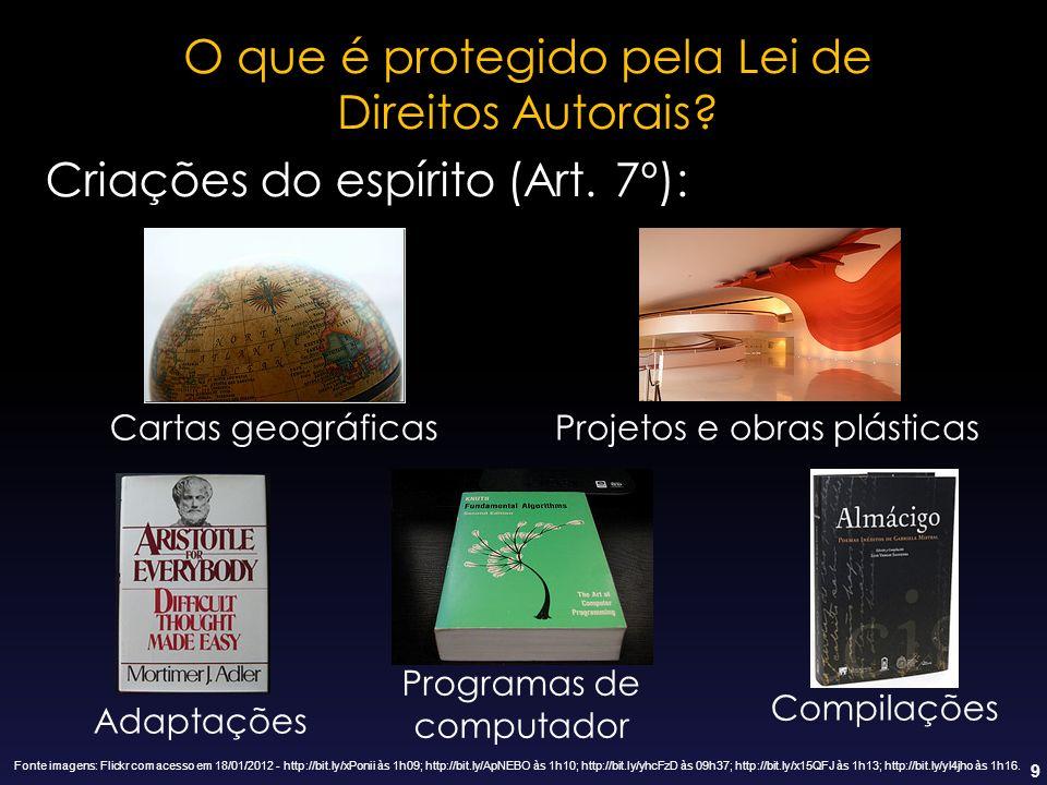 9 Compilações Criações do espírito (Art. 7º): O que é protegido pela Lei de Direitos Autorais? Cartas geográficasProjetos e obras plásticas Adaptações