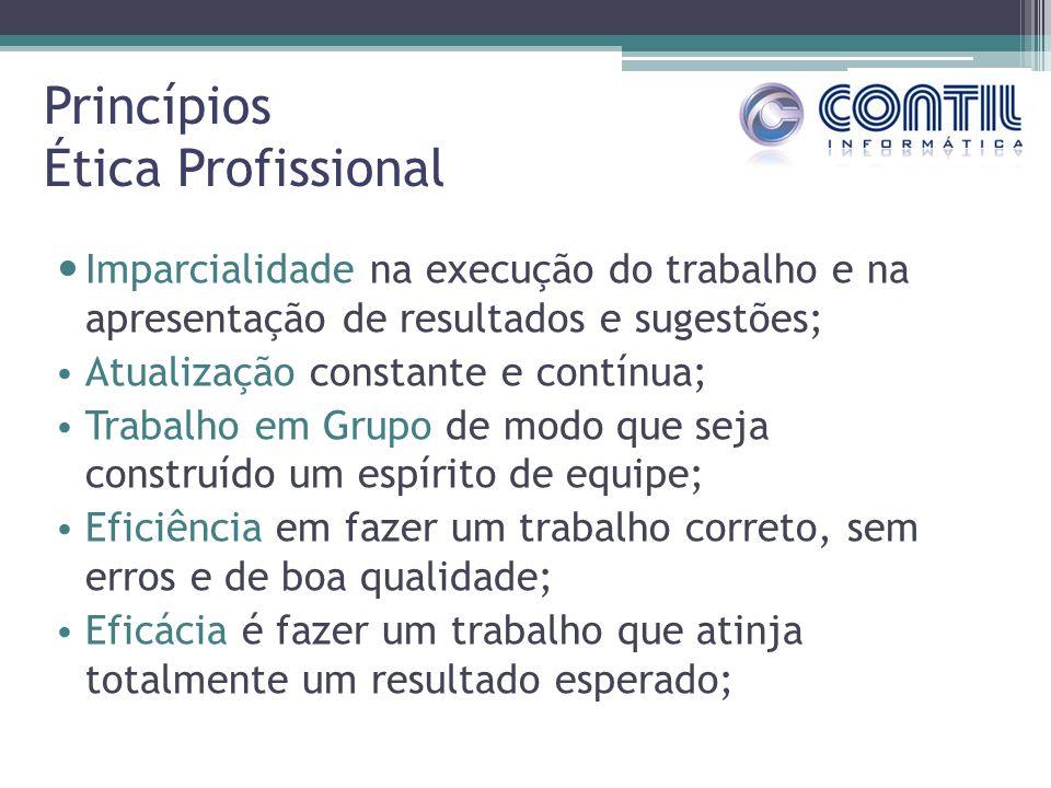 Princípios Ética Profissional Imparcialidade na execução do trabalho e na apresentação de resultados e sugestões; Atualização constante e contínua; Tr