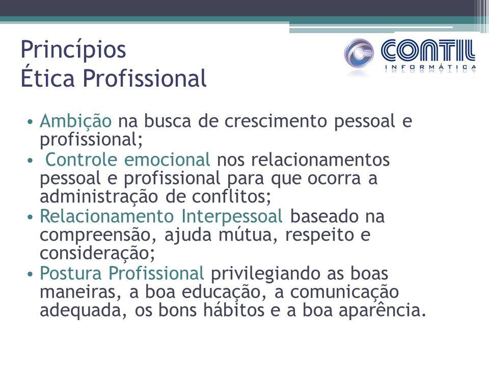 Princípios Ética Profissional Ambição na busca de crescimento pessoal e profissional; Controle emocional nos relacionamentos pessoal e profissional pa