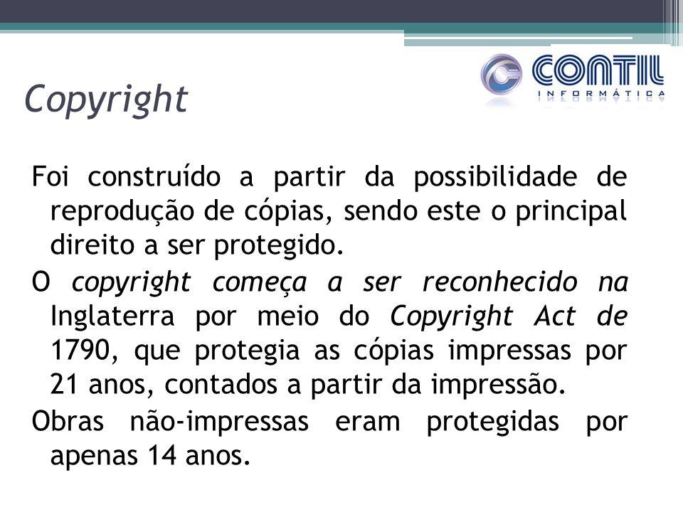 Copyright Foi construído a partir da possibilidade de reprodução de cópias, sendo este o principal direito a ser protegido. O copyright começa a ser r