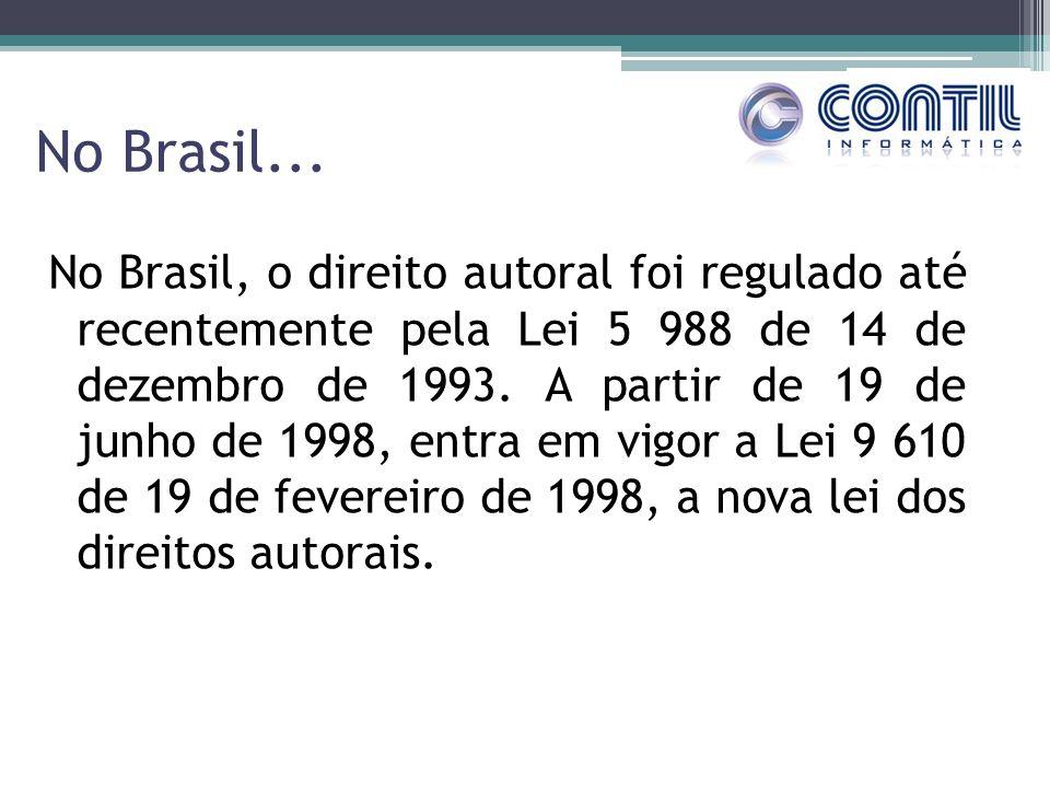 No Brasil... No Brasil, o direito autoral foi regulado até recentemente pela Lei 5 988 de 14 de dezembro de 1993. A partir de 19 de junho de 1998, ent
