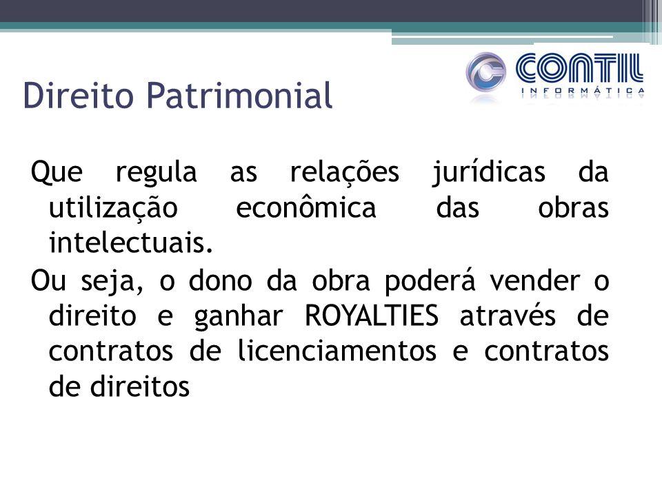 Direito Patrimonial Que regula as relações jurídicas da utilização econômica das obras intelectuais. Ou seja, o dono da obra poderá vender o direito e