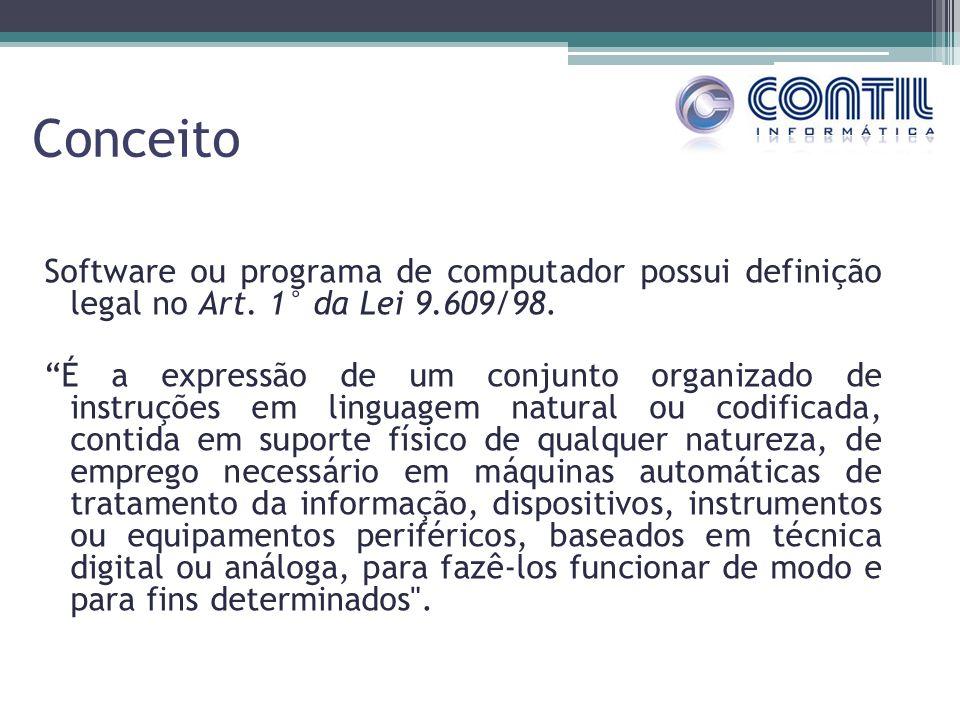 Conceito Software ou programa de computador possui definição legal no Art. 1° da Lei 9.609/98. É a expressão de um conjunto organizado de instruções e
