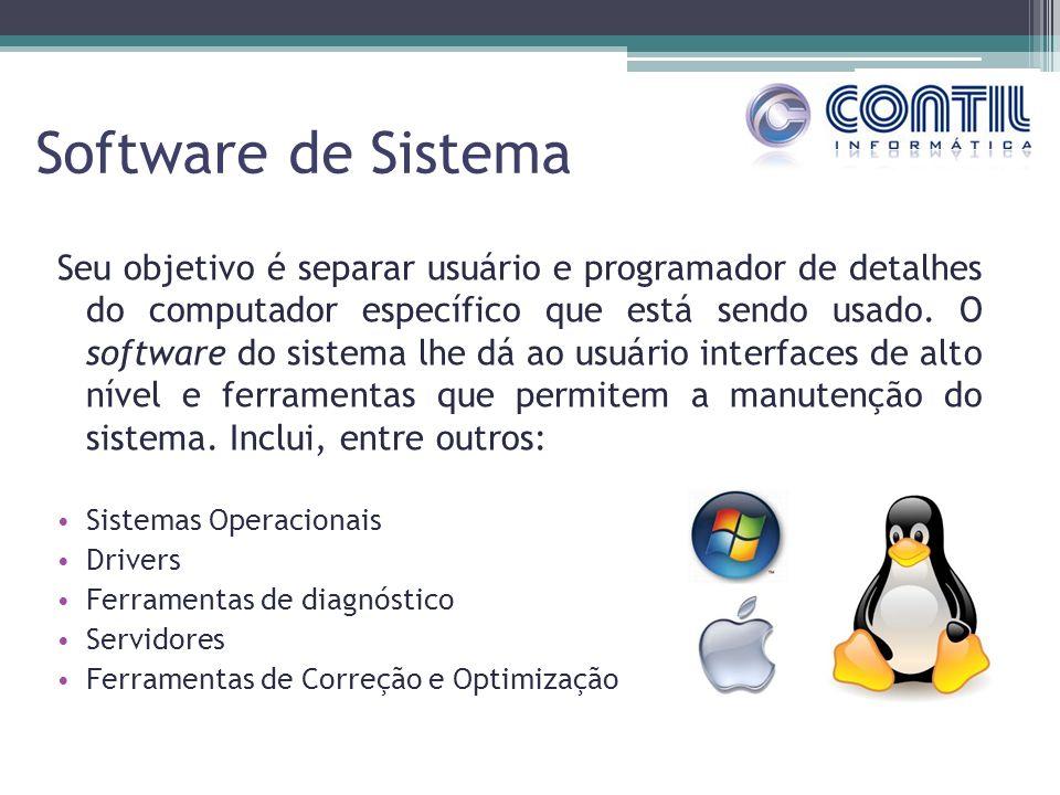 Software de Sistema Seu objetivo é separar usuário e programador de detalhes do computador específico que está sendo usado. O software do sistema lhe