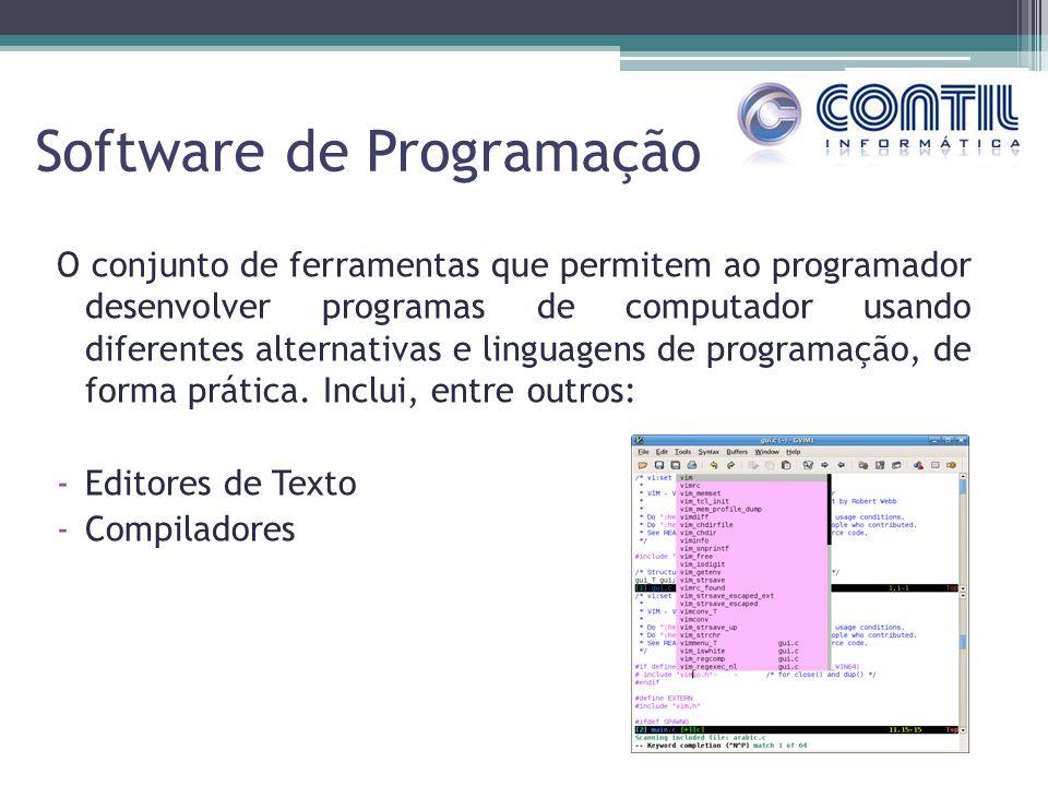 Software de Programação O conjunto de ferramentas que permitem ao programador desenvolver programas de computador usando diferentes alternativas e lin