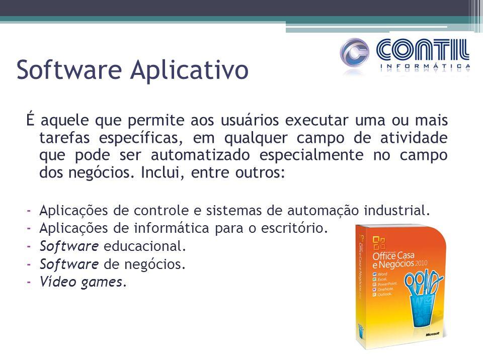 Software Aplicativo É aquele que permite aos usuários executar uma ou mais tarefas específicas, em qualquer campo de atividade que pode ser automatiza