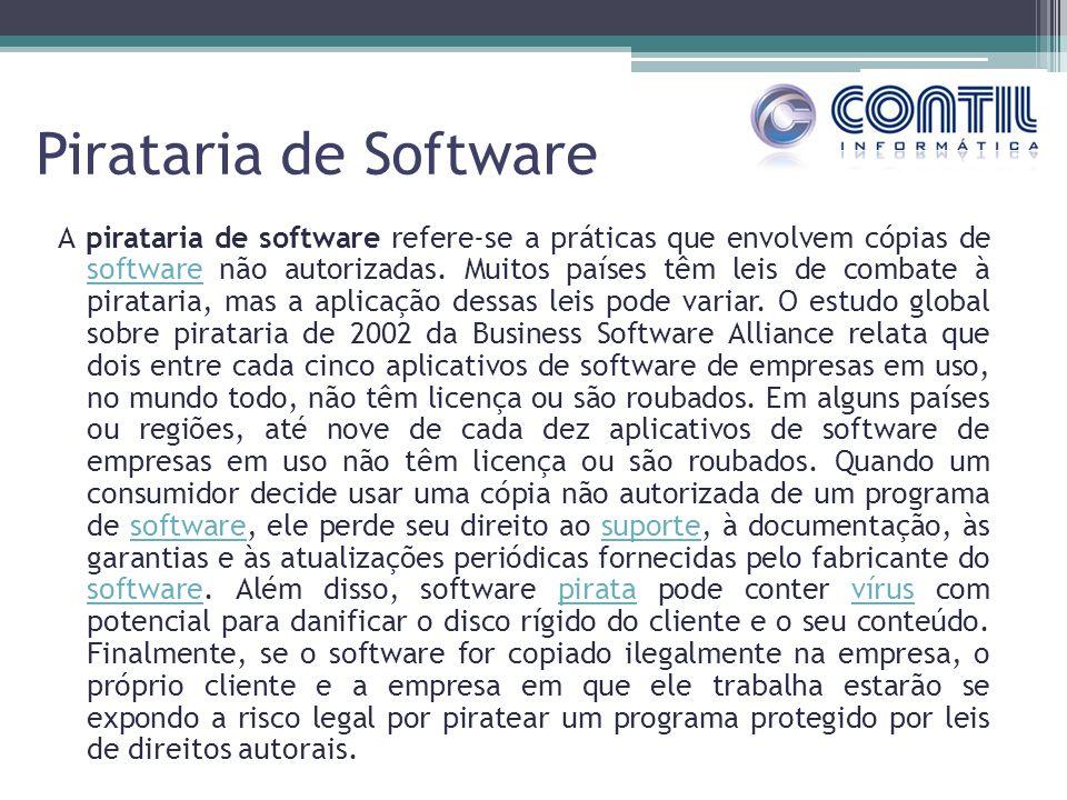 Pirataria de Software A pirataria de software refere-se a práticas que envolvem cópias de software não autorizadas. Muitos países têm leis de combate
