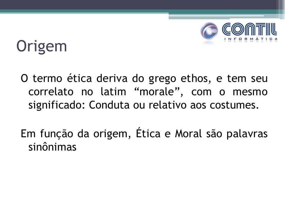 Origem O termo ética deriva do grego ethos, e tem seu correlato no latim morale, com o mesmo significado: Conduta ou relativo aos costumes. Em função