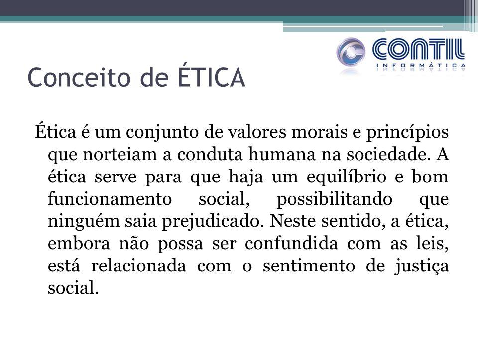 Conceito de ÉTICA Ética é um conjunto de valores morais e princípios que norteiam a conduta humana na sociedade. A ética serve para que haja um equilí