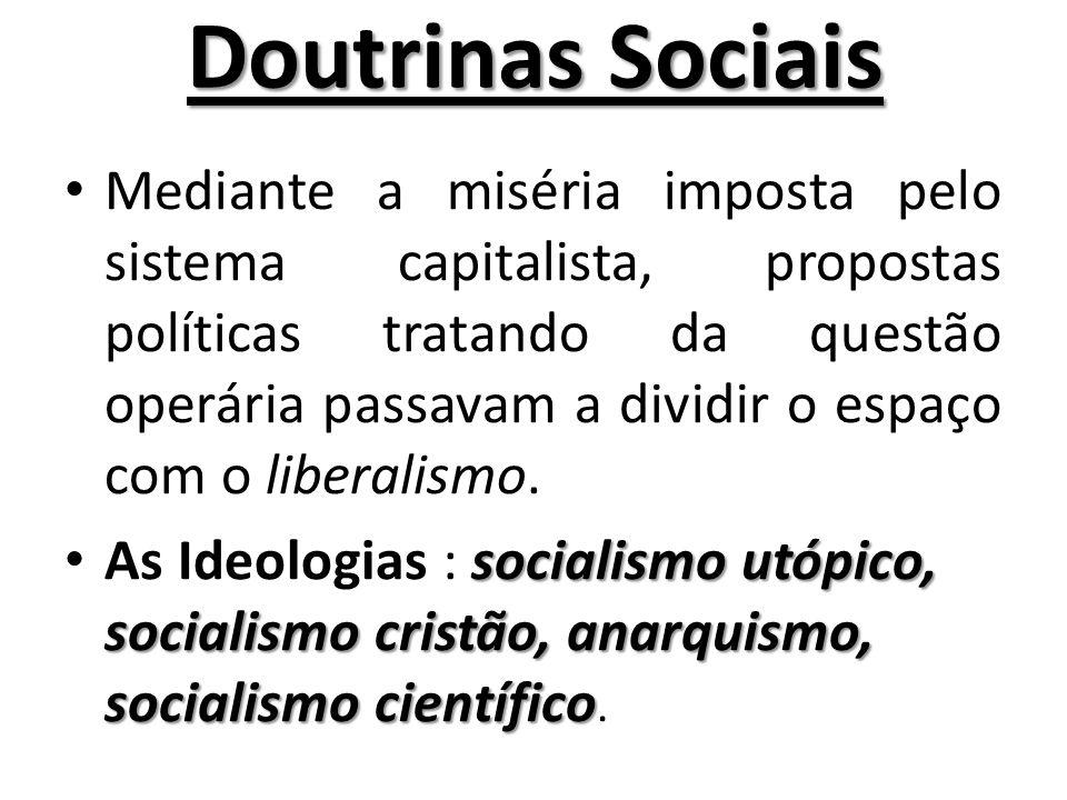 Doutrinas Sociais Mediante a miséria imposta pelo sistema capitalista, propostas políticas tratando da questão operária passavam a dividir o espaço com o liberalismo.