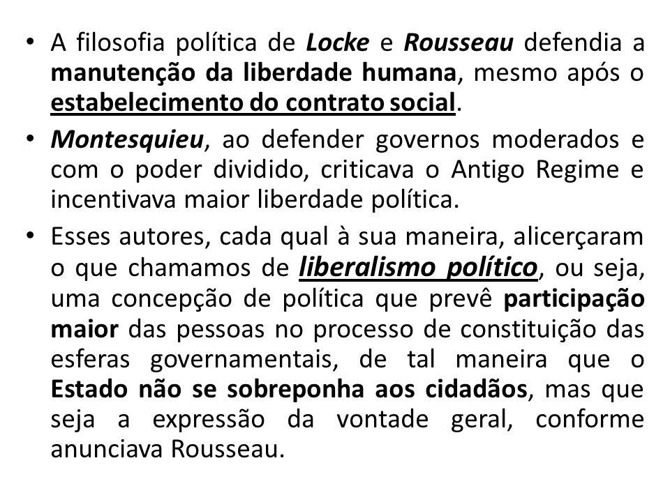 A filosofia política de Locke e Rousseau defendia a manutenção da liberdade humana, mesmo após o estabelecimento do contrato social.