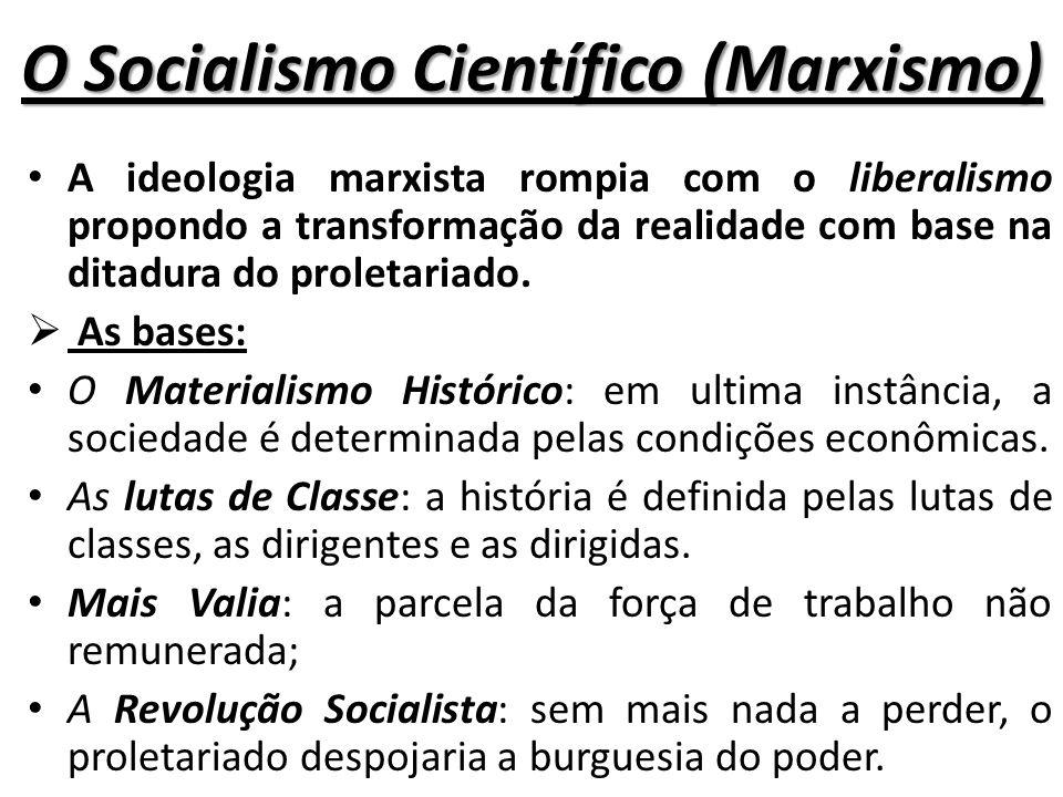 O Socialismo Científico (Marxismo) A ideologia marxista rompia com o liberalismo propondo a transformação da realidade com base na ditadura do proletariado.
