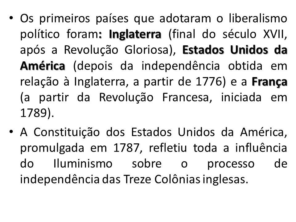 : Inglaterra Estados Unidos da América França Os primeiros países que adotaram o liberalismo político foram: Inglaterra (final do século XVII, após a Revolução Gloriosa), Estados Unidos da América (depois da independência obtida em relação à Inglaterra, a partir de 1776) e a França (a partir da Revolução Francesa, iniciada em 1789).