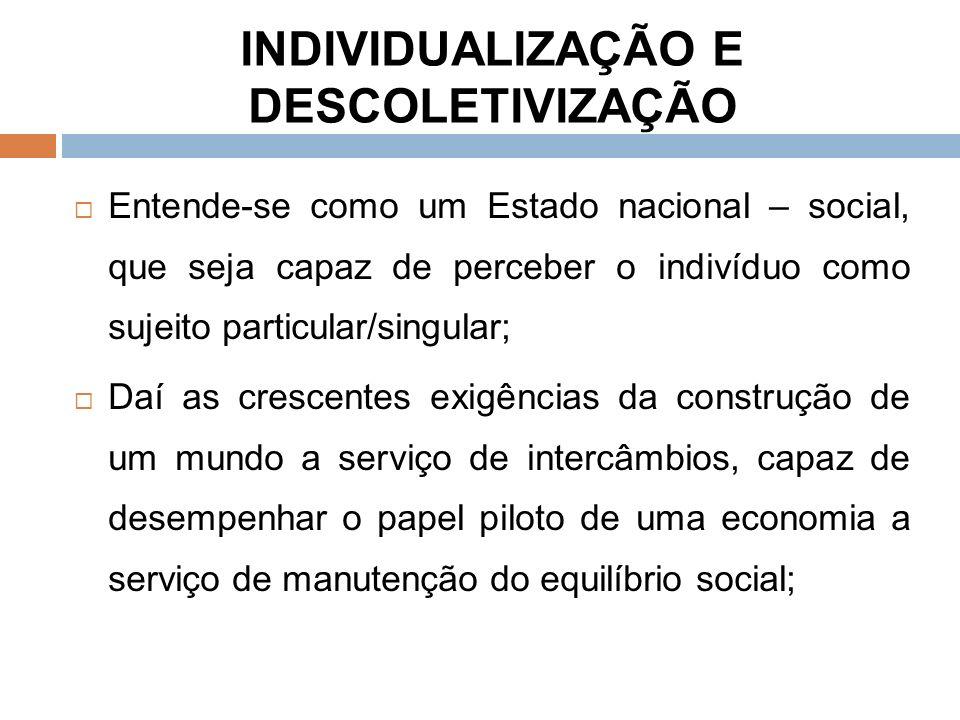 INDIVIDUALIZAÇÃO E DESCOLETIVIZAÇÃO Entende-se como um Estado nacional – social, que seja capaz de perceber o indivíduo como sujeito particular/singular; Daí as crescentes exigências da construção de um mundo a serviço de intercâmbios, capaz de desempenhar o papel piloto de uma economia a serviço de manutenção do equilíbrio social;