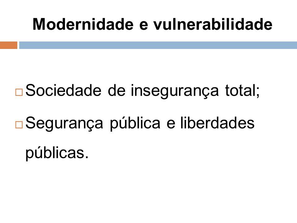 Modernidade e vulnerabilidade Sociedade de insegurança total; Segurança pública e liberdades públicas.
