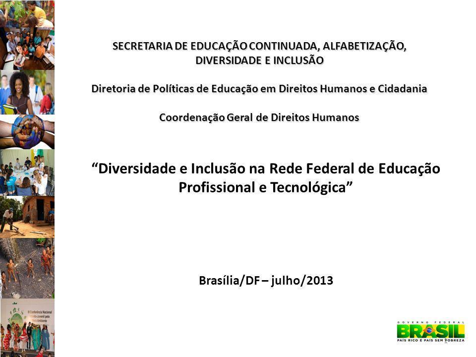 SECRETARIA DE EDUCAÇÃO CONTINUADA, ALFABETIZAÇÃO, DIVERSIDADE E INCLUSÃO Diretoria de Políticas de Educação em Direitos Humanos e Cidadania Coordenação Geral de Direitos Humanos 1 Diversidade e Inclusão na Rede Federal de Educação Profissional e Tecnológica Brasília/DF – julho/2013
