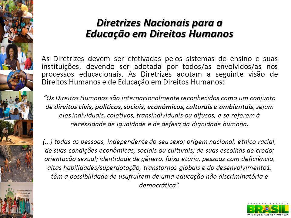 Diretrizes Nacionais para a Educação em Direitos Humanos As Diretrizes devem ser efetivadas pelos sistemas de ensino e suas instituições, devendo ser adotada por todos/as envolvidos/as nos processos educacionais.