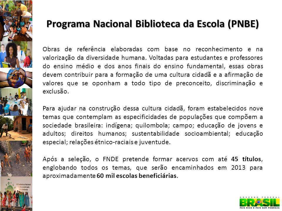 Programa Nacional Biblioteca da Escola (PNBE) Obras de referência elaboradas com base no reconhecimento e na valorização da diversidade humana.