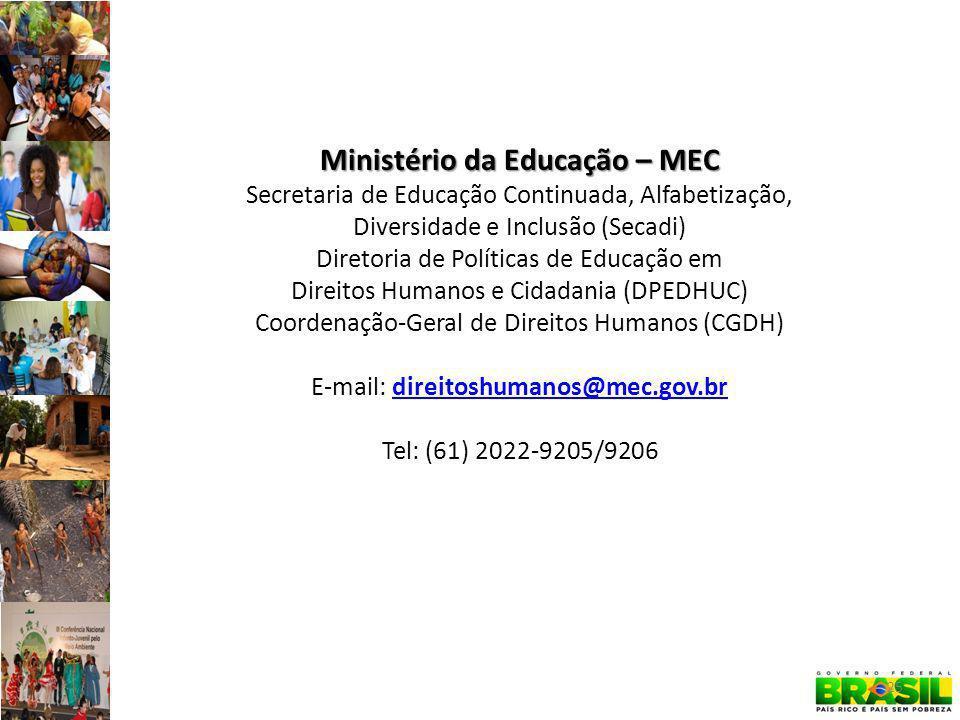Ministério da Educação – MEC Secretaria de Educação Continuada, Alfabetização, Diversidade e Inclusão (Secadi) Diretoria de Políticas de Educação em Direitos Humanos e Cidadania (DPEDHUC) Coordenação-Geral de Direitos Humanos (CGDH) E-mail: direitoshumanos@mec.gov.brdireitoshumanos@mec.gov.br Tel: (61) 2022-9205/9206 25