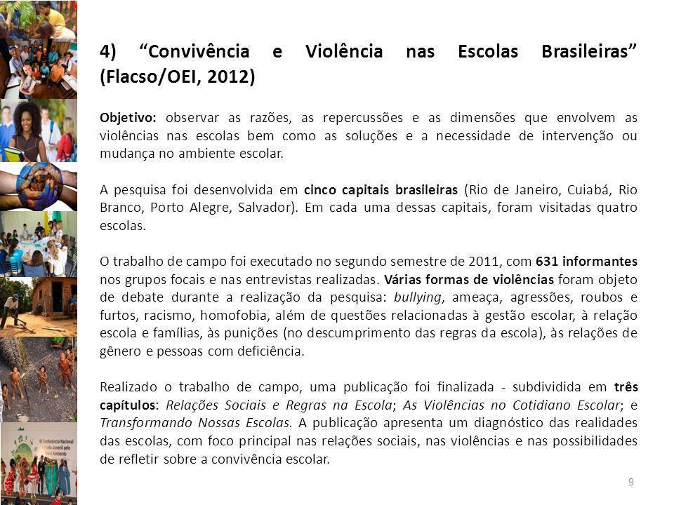 9 4) Convivência e Violência nas Escolas Brasileiras (Flacso/OEI, 2012) Objetivo: observar as razões, as repercussões e as dimensões que envolvem as violências nas escolas bem como as soluções e a necessidade de intervenção ou mudança no ambiente escolar.